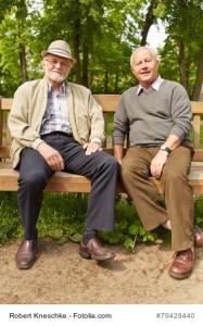 Zwei Senioren sitzen auf einer Bank im Park im Sommer